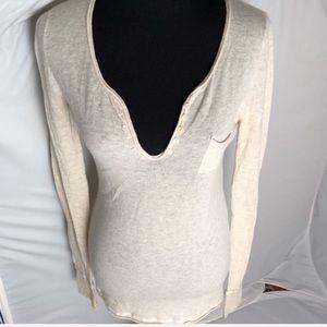 Zadig & Voltaire cream cashmere v-neck sweater M